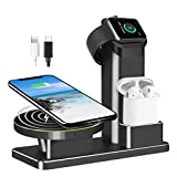 QRemix 10W Fast Wireless Charger Stand for iPhone X, 3 in 1 Charging Dock for iPhone 8, Apple Watch Series 3/2/1 & AirPods, Charge Stantion for iPhone 8 Plus, iWatch & EarPods (Black)