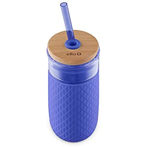 Ello Devon 20OZ Glass Tumbler with Straw, Denim, 20 Oz.