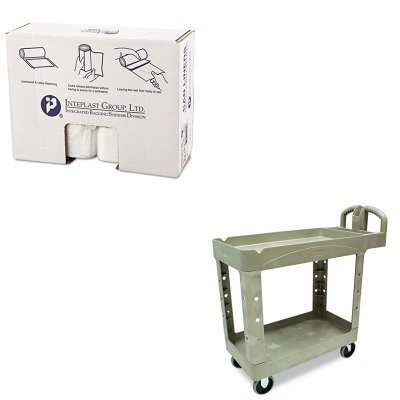 KITIBSS386017NRCP450088BG - Value Kit - Rubbermaid Heavy-Duty Utility Cart (RCP450088BG) and High Density Can Liner 38 x 60 22 Mic Natural (IBSS386017N)