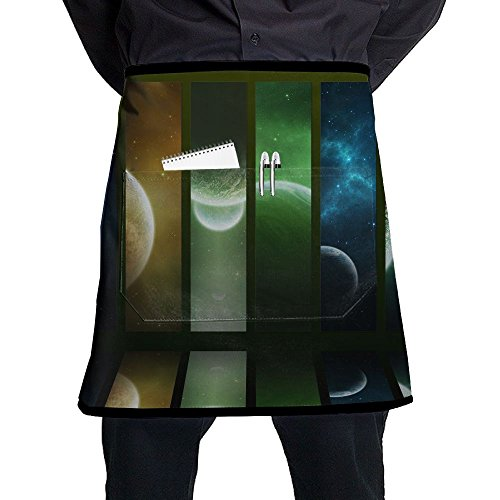 Waist Short Apron Half Chef Apron With Pockets Colorful Stripe Planets Print Home Kitchen Cooking Pinafore For Bistro Restaurant Cafe Pub BBQ Grill -