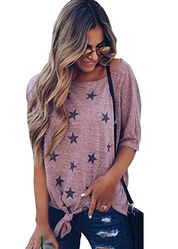 (LaSen Womens Summer Scoop Neck Short Sleeve Tee Tops Cotton T-Shirts,Stretch Short-Sleeve Crewneck T-Shirt,Front Knot Twist Tunic Tops (Pink, Small))