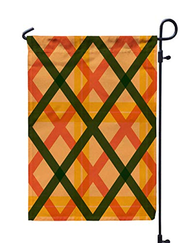 (GROOTEY Welcome Outdoor Garden Flag Home Yard Decorative 12X18 Inches Plaid Pattern Background Double Sided Seasonal Garden Flags )