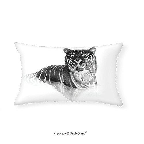 VROSELV Custom pillowcasesAnimal Safari Tiger Animal with Stripes African Asian Tribe Symbol Art Image for Bedroom Living Room Dorm White and Charcoal Grey(14''x24'') by VROSELV