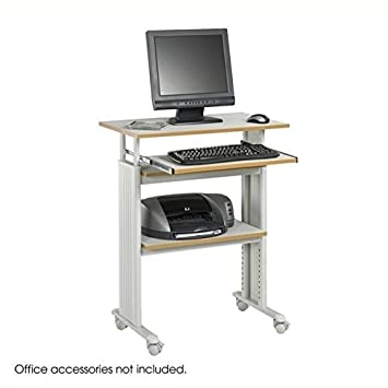 Safco Products 1929GR Muv 35-49 H Stand-Up Desk Adjustable Height Computer Workstation with Keyboard Shelf, Gray