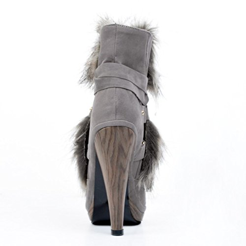 13cm Prom Schuhe Party High Grau Handmade Winterstiefel Kolnoo Womens Heel Fashion Kreuzband pwtHBqt