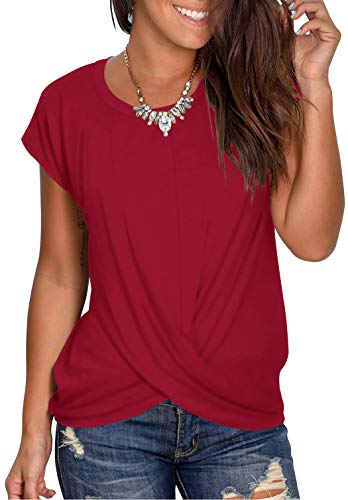 AZEPKS Women's Summer Twist Front Crop Short Sleeve Tops Round Neck Casual Loose Blouses T Shirts Size Large Color Wine Red