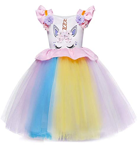 TTYAOVO Toddler Unicorn Costume Baby Girl Princess Flower Dress Pageant Party Tutu Dresses Size 4-5 Years Pink ()