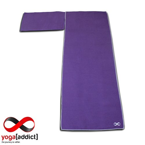 Hot Yoga Mat Towel and Hand Towel Set of 2 YogaAddict (10 Colours) 100% Microfiber, Non Slip, Skidless, Super Absorbent, Ideal as Bikram, Ashtanga, Hot Yoga Mat Towel, For Yoga, Pilates, Meditation, Fitness, Sports, Beach