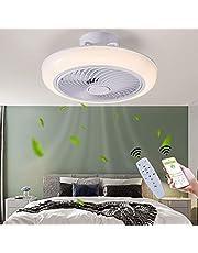 Plafondventilatoren met verlichting met app en afstandsbediening, 3 snelheden Modern LED Dimbaar Plafondlamp met ventilator voor slaapkamers Huiskamer