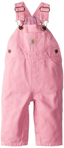 Carhartt Baby Girls' Canvas Overall Flannel Lined, Pink, 24 Months