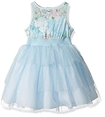 Marmellata Big Girls' Sleeveless Floral Party Dress with Waistband and Tutu Skirt, Blue, 7