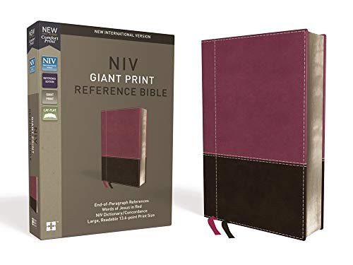 NIV, Reference Bible, Giant Print, Leathersoft, Pink/Brown, Red Letter Edition, Indexed, Comfort Print