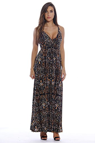 8858-54-1X Just Love Maxi Dresses for Women / Summer Plus Size Dresses,Stained Glass Window Print,1X Plus