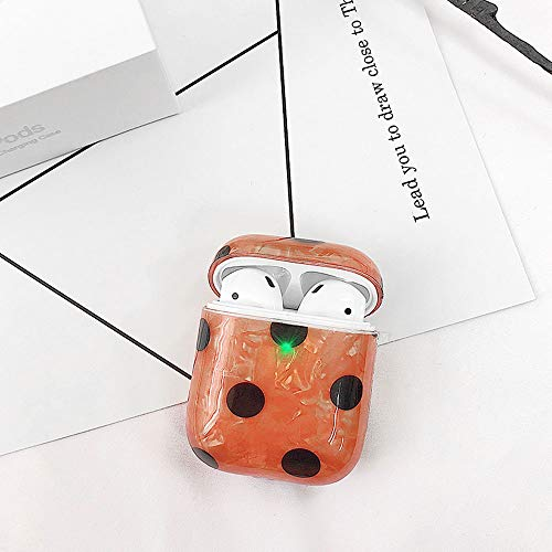 UR Sunshine AirPods Case, Freshing Art Style Polka Dot Fruit Cartoon Animal Grid Pattern Soft TPU Silicone Case Cover, Brilliant Shell Pattern Bottom Protective Skin for AirPods-Orange Polka Dot