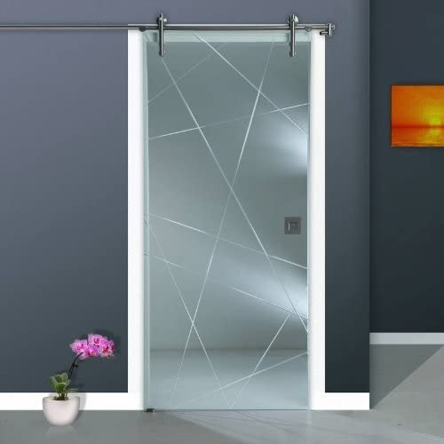 Correderas de cristal de puerta de ST 968-F V1000 - 1025 x 2050 x 8 mm a la izquierda, 8 mm de cristal de seguridad, de vidrio transparente con cristal esmerilado, asa