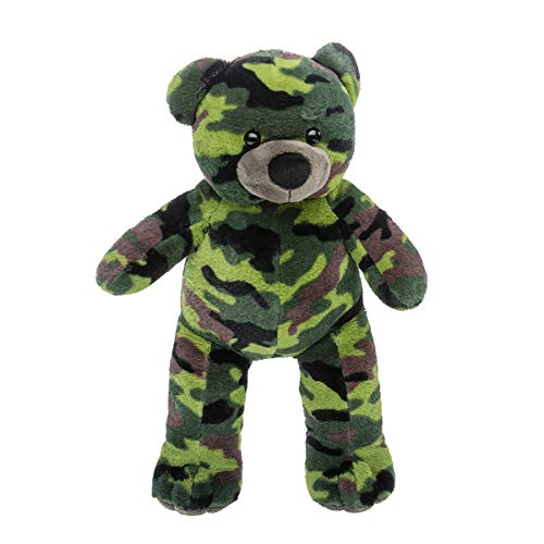 Green Bear Dancing - Cuddly Soft 16 inch Stuffed Camouflage Teddy Bear - We stuff 'em...you love 'em!
