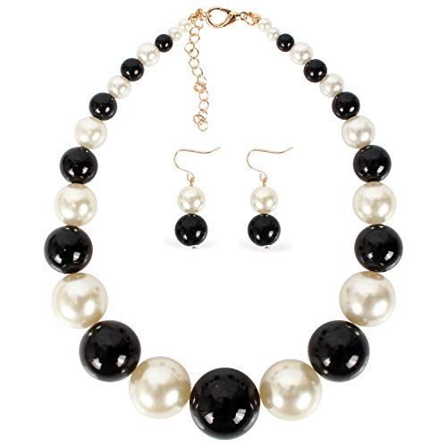 (Lucky House Fashion Big Faux Pearl Strands Necklace Earrings for Women 20