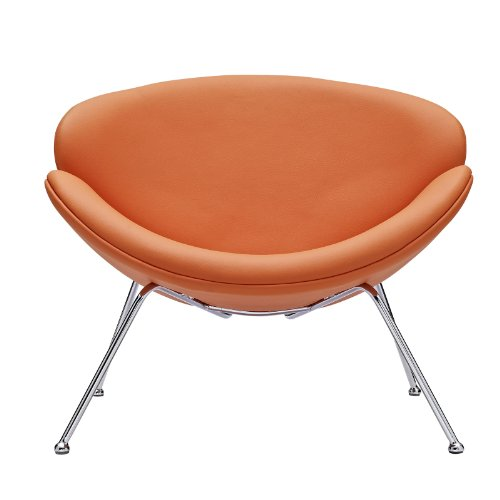 Orange Vinyl Accent Chair with Splayed Chrome Legs