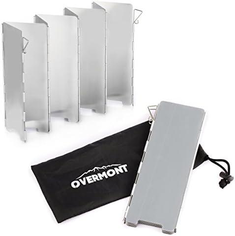 Overmont 8 Placas Parabrisas Plegable para Camping Cocina Estufa de Gas Escudo Pantalla de Viento Cortavientos al Aire Libre