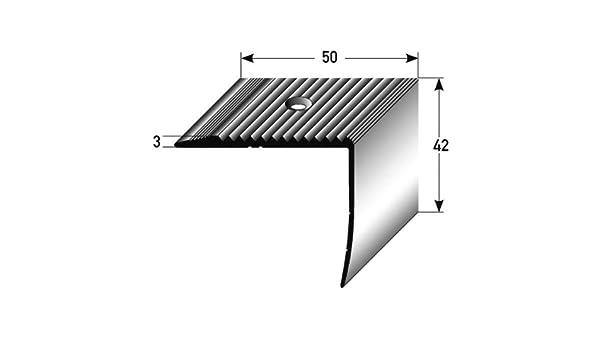 5 metros (5 x 1 m) - Perfil de escalera (42 mm x 50 mm) de aluminio anodizado, perforado, bronce oscuro: Amazon.es: Hogar
