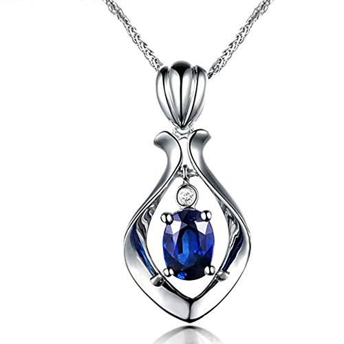 Fashion Blue Sapphire Engagement Natural Diamonds 14K White Gold Pendant Sets Wedding Promise Party by Kardy