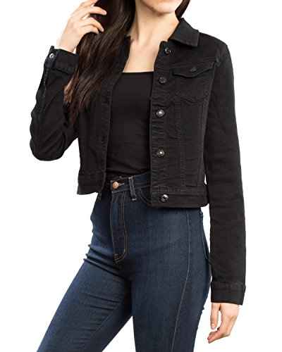 URBAN K WOMENS Long-Sleeve Distressed Button Up Denim Jean Jacket Regular & Plus Size,Ubk017 black,Medium