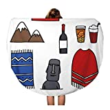Pinbeam Beach Towel America Doodle Chile Chilean Country Drink Patagonia South Travel 60 inches Round Tapestry Beach Blanket