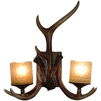 EFFORTINC Rustic Deer Horn Antler Wall Sconce 2 Light Fixtures  sc 1 st  Amazon.com & EFFORTINC Rustic Deer Horn Antler Wall Sconce 2 Light Fixtures ... azcodes.com