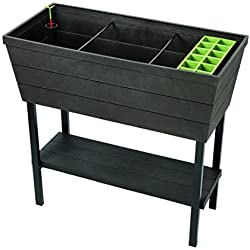 Keter Urban Bloomer 22.4 Gallon Resin Plastic Wood Look Elevated Raised Patio Garden Flower Planter Bed, Graphite