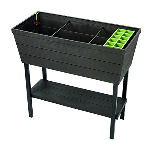 22.4 Gallon Resin Plastic Wood Look Elevated Raised Patio Garden Flower Planter Bed, Graphite ()