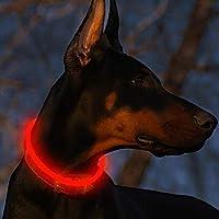Fttouuy Blinkender LED Hundehalsband, LED Leuchthalsband USB wiederaufladbar Längenverstellbar- Haustier Sicherheit...