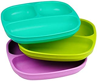 product image for Re-Play Made in USA 3pk Divided Plates with Deep Sides for Easy Baby, Toddler, Child Feeding - Aqua, Lime Green and Purple (Mermaid)