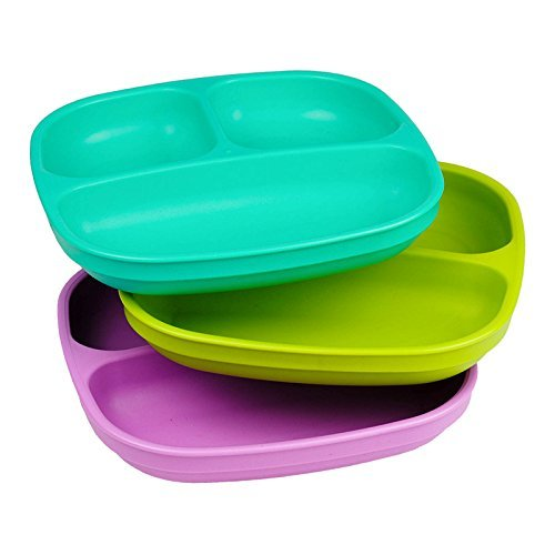 Re-Play Made in USA 3pk Divided Plates with Deep Sides for Easy Baby, Toddler, Child Feeding - Aqua, Green & Purple (Mermaid)