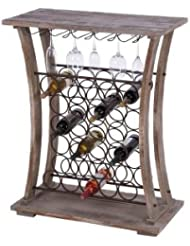 Woodland Imports Hours Tall Wood Metal Wine And Stemware Rack
