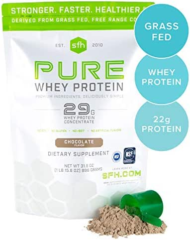 SFH Pure Whey Protein Powder (Chocolate) by SFH | Best Tasting 100% Grass Fed Whey | All Natural | 100% Non-GMO, No Artificials, Soy Free, Gluten Free | 896g (Chocolate, 31.6 Ounce (Pack of 1))