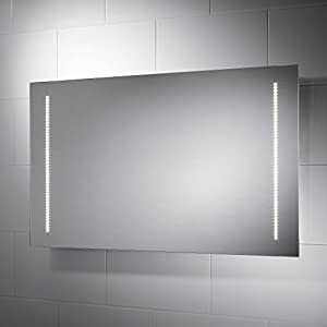 Pebble Grey Large Rectangular Assisi LED Illuminated Bathroom Mirror With Lights Size 1000mmW X 600mmH Infra Red Sensor Switch Dual Voltage