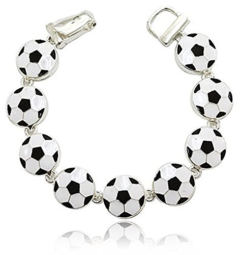 Cute Black and White Soccer Ball Charm Sports Themed Magnetic Clasp Bracelet Sports Theme Fashion (Hockey Ref Halloween)