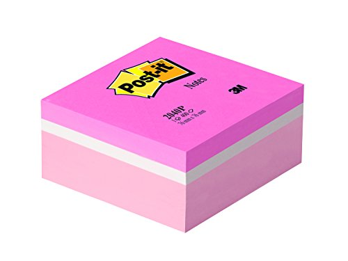 Post-It Cube 2040P Post-It Notes, 76 x 76 MM 400 Sheets Fluorescent Pink White/Pastel Pink