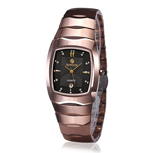 BINLUN Mens Watches Rectangle Tungsten Japanese Quartz Watch with Calendar Date Waterproof - Champagne