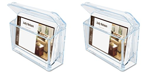 Deflecto Grab-A-Card Outdoor Business Card Holder, 4 1/4 x 2 3/4 x 1 1/2 Inches (70901), 2 Packs (Outdoor Card Holder Business)