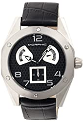 Morphic Men's 'M42 Series Patterned Dial Strap Day/Date' Quartz Stainless Steel and Leather Watch, Color:Black (Model: MPH4202)