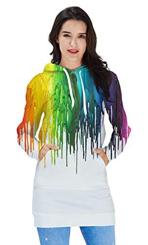 RAISEVERN Women's Length Pullover Dress Creative Rainbow Paint Pattern Lightweight Hoodies Stylish Funny Cute Comfy Midi Sweatshirt (Jersey Cotton Rainbow)