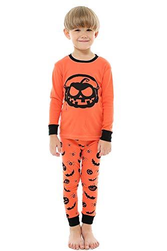 AMGLISE Little Boys Girls Halloween Pajamas Pumpkin Pjs Kids Sleepwear Set