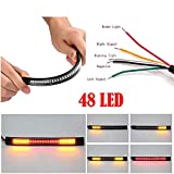 Powstro 48-LED Motorcycle Light Strip Tail Universal Flexible Brake Stop Turn Signal Lights License Plate Light SMD 2835 3014
