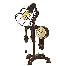 IRON PIPE DESIGNS Industrial Steampunk Desk Lamp Overtime bronze with pull chain switch, gold clock, & bulb cage