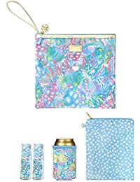 Water Resistant Vinyl Beach Day Pouch - Includes Drink Hugger, Zip Pouch, and Towel Clips