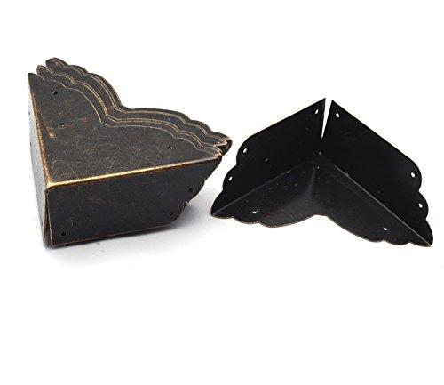Antrader 8pcs Metal Box Corner Protector Edge Safety Bumpers Furniture Corner Guard Bronze Tone 2.8