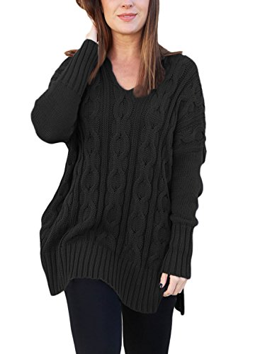 Sidefeel Women Casual V Neck Loose Fit Knit Sweater Pullover Top Medium Black