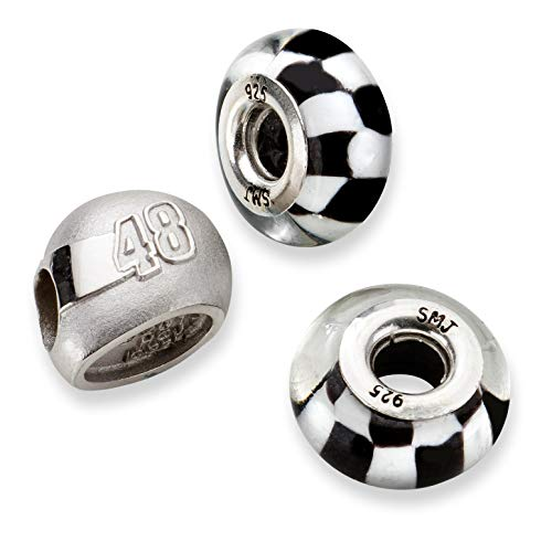 Bonyak Jewelry SS LogoArt NASCAR #48 Jimmie Johnson 2 Glass Helmet Bead Set in Sterling Silver