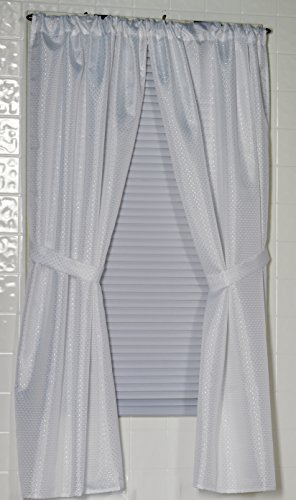 Carnation Home Fashions Lauren Dobby Fabric Bathroom Window Curtain, 34-Inch by 54-Inch, White